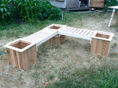 """L"" Shaped Planter Box Bench with planters"