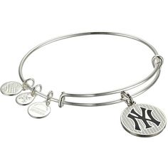 Alex and Ani MLB New York Yankees Pinstripes Charm Bangle Bracelet ($38) ❤ liked on Polyvore featuring jewelry, bracelets, sports charms, alex and ani, silver baseball charm, charm bracelet bangle and silver jewelry