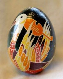 Pysanky-The stork figures prominently in many Ukrainian folk tales This one is playing the violin!