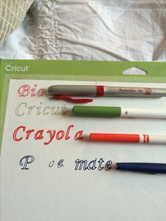 I tested out some different types of pens in my cricut explore. For the BIC Mark-It Ultra Fine Point, it worked great but you have to take the grip off of the pen. The cricut pen did well of course. The Crayola fine point did good but I would recommend using it for bigger (size) words. The Papermate Flair M didn't do so well, it didn't fit into the pen holder A at all. It would start popping up after I pushed it in... Don't use those, they also drag. Hope this will possibly save you some…