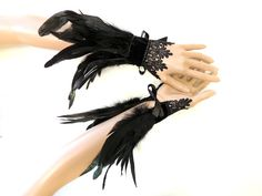 Goth raven crow feather cuff gauntlet wristbands by DeadDollsShop Raven Costume, Bird Costume, Dark Fairy Costume, Ballet Costumes, Dance Costumes, Halloween Costumes, Burlesque, Crow Feather, Black Swan Costume