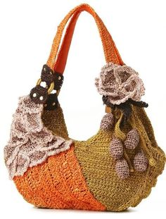 "New Cheap Bags. The location where building and construction meets style, beaded crochet is the act of using beads to decorate crocheted products. ""Crochet"" is derived fro Crochet Purse Patterns, Bag Crochet, Freeform Crochet, Crochet Handbags, Crochet Purses, Love Crochet, Beautiful Crochet, Crochet Crafts, Crochet Ideas"