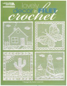 "Lovely Decor in Filet Crochet presents 7 designs by Susan Lowman, featuring an airy stitch she calls ""Lacet"".  The designs portray a butterfly, house, cactus, lighthouse, Love Never Fails quote, piano and rose.  Have fun adding these lacy luxuries to your home!  They also make excellent birthday, housewarming, secret sister and mother's day gifts."