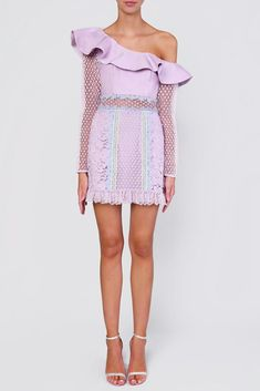 Lilac Pastel Multi One Shoulder Mini Dress Race Day, Lace Sleeves, Crochet Lace, No Frills, Lace Detail, Lilac, Off The Shoulder, Dress Up, Pastel