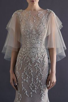 Paolo Sebastian French tulle fishtail gown with embroidered vine detailing and wing sleeve. VIEWING 10 OF 22 Paolo Sebastian Frenc. Bridal Gowns, Wedding Gowns, Wedding Bolero, Bridal Lace, Wedding Blog, Paolo Sebastian, Sebastian Stan, Evening Dresses, Formal Dresses