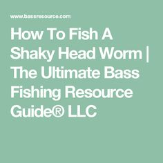 How To Fish A Shaky Head Worm | The Ultimate Bass Fishing Resource Guide® LLC