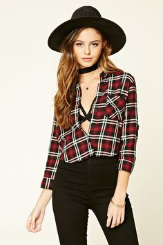 http://www.forever21 A woven flannel shirt featuring roll-tab ¾ sleeves, a basic collar, a buttoned front, and a chest patch pocket.