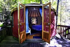 Yurt in Paradise: Awesome US Yurt Camping | Roadtrippers  This yurt comes with a hot tub and hammock...ultimate relaxation in nature :)
