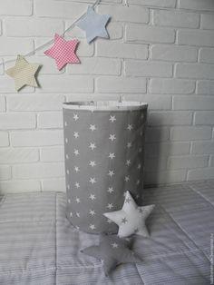 """Купить Текстильная корзина """"Звезды"""" - серый, звезда, текстиль для детской, Корзина для хранения, хранение игрушек"""
