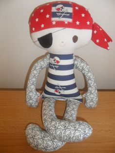 Pirate Doll using body pattern by bit of Whimsy by Totsoftoday, $35.00