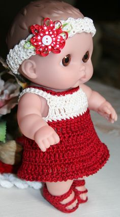 Crochet outfit for 8.5 inch Doll Lil Cutesies Dress Set Red Burgundy Natural Cream.
