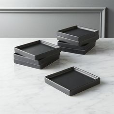 On sale. Shop Set of 8 Bento Matte Black Appetizer Plates. Go-to, go with everything dinnerware turns a corner in matte black stoneware. Raised rims square off interactive plates. bento matte black appetizer plates set of eight is a exclusive. Modern Dinner Plates, Dinner Plate Sets, Modern Dinnerware, Dinnerware Sets, Appetizer Plates, Appetizers, Square Plates, Plates And Bowls, Bento
