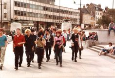 Old Market Square Nottingham but take a look at the wide range of different people including the older person there in the grey suit. How vibrant Slab Square was before they bulldozed it all away. Nottingham City Centre, Council Estate, History Photos, Going Home, Childhood Memories, Street View, Punk, Marketing, Beady Eye