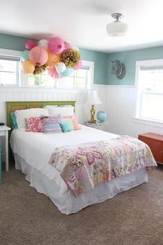 Girl\'s room ideas: funky hanging paper lanterns, tissue paper balls ...