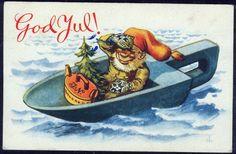 DAMSLETH. Fiskenisser. Nisse seiler i øsekar med julegaver. God Jul. Brukt 1943