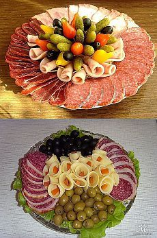 When you need something quick and cute for a last-minute gathering, you can't go wrong with meat, cheese and - Slideit. Party Food Meat, Party Food Platters, Cheese Platters, Party Snacks, Meat Trays, Meat Platter, Food Trays, Holiday Appetizers, Appetizer Recipes