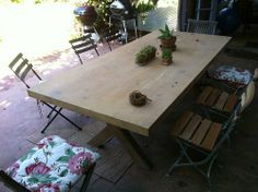 Outdoor Cross Leg Table - need to make it in Iroko so it lasts forever and doesn't need any treatment Cape Town South Africa, Solid Wood Table, Wooden Furniture, Oregon, Pine, Tables, Dining Table, Outdoors, Home Decor