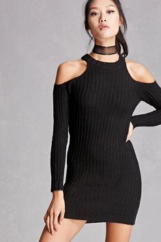 A ribbed knit mini dress by Lush™ featuring an open-shoulder design, long sleeves, round neckline, and a form-fitting silhouette.