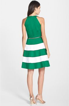 Eliza J Stripe Sateen Fit & Flare Dress | Nordstrom