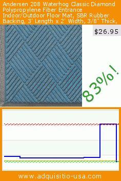"""Andersen 208 Waterhog Classic Diamond Polypropylene Fiber Entrance Indoor/Outdoor Floor Mat, SBR Rubber Backing, 3' Length x 2' Width, 3/8"""" Thick, Medium Blue (Misc.). Drop 83%! Current price $26.95, the previous price was $154.02. https://www.adquisitio-usa.com/andersen-company/andersen-208-waterhog"""