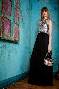 Matthew Williamson | Pre-Fall 2015 | 26 Black halter maxi dress with silver beaded top