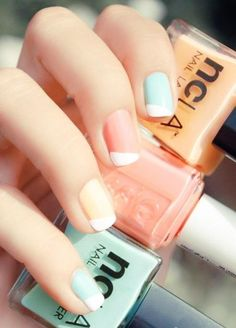 PASTEL NAIL WITH FRENCH TIPS