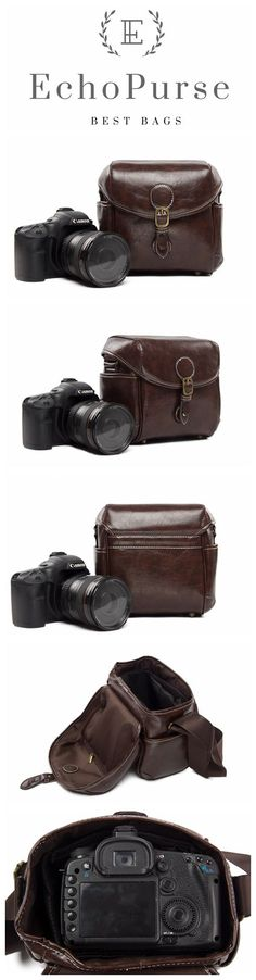 PU Leather DSLR Camera Purse, Coffee SLR Camera Case 288