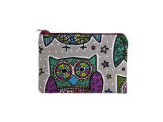 Owl Mini Zipper Pouch / Small Owl Bag in Dia De Los Owlos. thepurplehedgehog