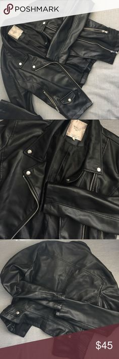 TRF Faux Leather Jacket Cropped look , silver hardware. fake leather. Worn but in great condition Zara Jackets & Coats