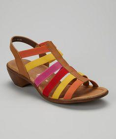 Saddle & Orange Peony Leather Sandal