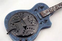 Full custom Blue glossy Black Contour Combine by iVeeGuitars Guitar Art, Music Guitar, Cool Guitar, Acoustic Guitar, Guitar Room, Resonator Guitar, Hammered Dulcimer, Guitar Collection, Beautiful Guitars
