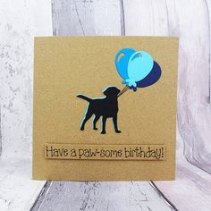 Your place to buy and sell all things handmade Happy Birthday Name, Funny Birthday Cards, Handmade Birthday Cards, Greeting Cards Handmade, Card Birthday, Pun Card, Black Labrador, Animal Cards, Funny Cards