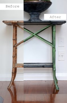 (Like new green color). Lee Caroline - A World of Inspiration: Vintage Bamboo Table - Chinoiserie Look with Chalk Paint™ and Stencilling Redo Furniture, Painted Furniture, Painted Bamboo, Chinoiserie, Bamboo Table, Bamboo Furniture Makeover, Wicker Table, Bamboo Furniture Vintage, Rattan Furniture