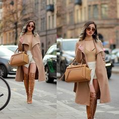 Get this look: http://lb.nu/look/8513891  More looks by Louise Xin: http://lb.nu/xinlouise  Items in this look:  Vila  Camel Coat, Sunglasses Gucci, Boohoo Choker Sweater Nude, River Island Nude Tote Bag, Nelly Lace Up Thigh High Boots   #chic #elegant #street