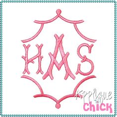 Trendy and fun digital applique designs for crafters with embroidery machines Embroidery Monogram Fonts, Applique Monogram, Embroidery Applique, Embroidery Patterns, Machine Embroidery, Monogram Design, Monogram Letters, Stationery Paper, Applique Designs