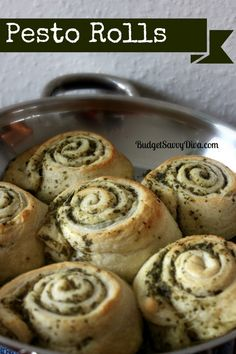 Pesto Rolls~T~ a quick and easy roll that is good with soup. Just can of crescent rolls and pesto. Can dip in marinara if you serve as an app.