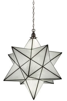 32 Inch W Moravian Star Pendant. 32 Inch W Moravian Star PendantLike wishing upon a star in the sky, this unique decorative pendant is inspired by star lights that wereoriginally believed to bring good luck to Europeanhomes hundreds of years ago. This unique fixture features a Star diffuser handcrafted of White art glass. Custom crafted by Meyda artisans in the USA,this pendant is enhanced with a frame and hardware featured in a Brushed Nickel finish. This fixtureilluminates...