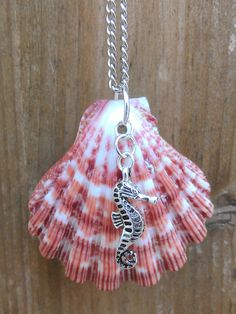 Pink Seashell Necklace with Seahorse Charm by PinkFishJewelryShop, $25.00