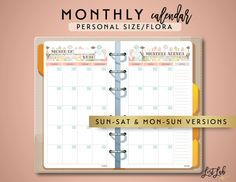 This 2-page Monthly Planner is perfect for laying out a whole month's tasks & notes.  Each document contains gorgeous typography and lovely floral graphics in portrait orientation. Included is the Personal Size version (95mm x 171mm) layouted with crop marks in Letter & A4 Size page formats. These sheets are perfect inserts for Filofax Personal, Kikki-K Medium or similar sized planners. Also included are options for SUNDAY to SATURDAY format and MONDAY to SUNDAY format.  This is a PERPETUAL…
