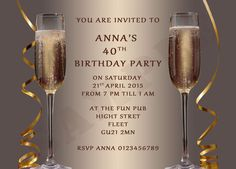 Personalised Ladies Adult Birthday Party Invitations, champagne,proof,envelopes in Home, Furniture & DIY, Celebrations & Occasions, Cards & Stationery | eBay
