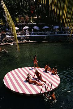 I would love to have this sun deck on every lake. Slim Aarons, April Fools, Beach Mat, Outdoor Blanket, April Fools Day, April Fools Pranks