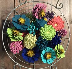 Pinecone Flower Bowl Fillers, Basket Fillers, Basket Stuffer, Painted Pinecones, Zinnias, Daisy and Dahlia, Rustic Decor, Seasonal Decor