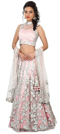 Buy Online from the link below. We ship worldwide (Free Shipping over US$100) Price - $2,849.00 Click Anywhere to Tag http://www.kalkifashion.com/pink-lehenga-enhanced-in-stone-and-kundan-embroidery-only-on-kalki.html