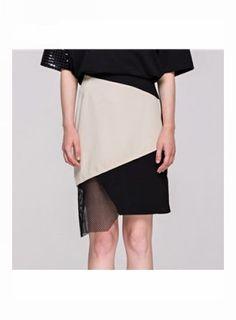 REUBEN Bi-Color Asymmetrical Hem Skirt@ shopjessicabuurman.com