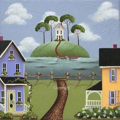 Folk Art Print Hill Crest Island by catherineholman on Etsy, $16.95