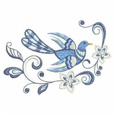 Jacobean Bird embroidery design