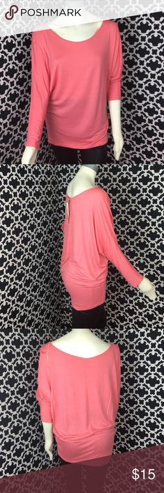"""🆕LISTING Coral Batwing Top Never wore. NWT. Wear off shoulder. Shoulder to bottom 30"""", PTP 29"""". 96% viscose, 4% spandex. ❌BUNDLE❌ and save! Lani Tops Blouses"""