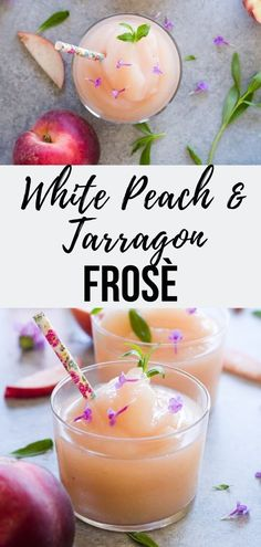 White Peach Frosè with Tarragon Simple Syrup - Le Petit Eats Like rose wine? One sip of this White Peach Frosè and it will become your official drink of the summer! A tarragon simple syrup elevates this frozen rose wine cocktail in the most subtle way. Frozen Cocktails, Easy Cocktails, Cocktail Recipes, Wine Recipes, Recipes Dinner, Cocktail Drinks, Whiskey Drinks, Wine Drinks, Beverages