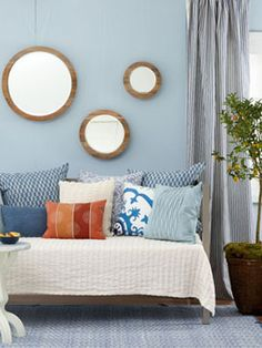 """We are painting our bedroom in a color similar to this """"Blue Illusion"""" shade by Valspar...looking for design ideas."""