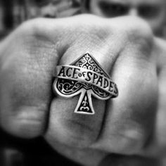 ace of spades poker silver ring